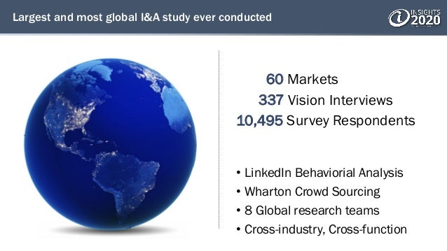 Largest and most global I&A study ever conducted 60 Markets 337 Vision Interviews 10,495 Survey Respondents • LinkedIn Beh...