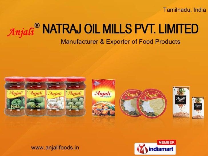 Manufacturer & Exporter of Food Products Tamilnadu, India