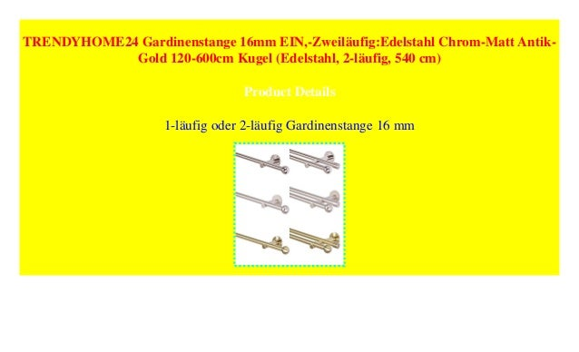 Trendyhome24 Gardinenstange 16mm Ein Zweiläufigedelstahl