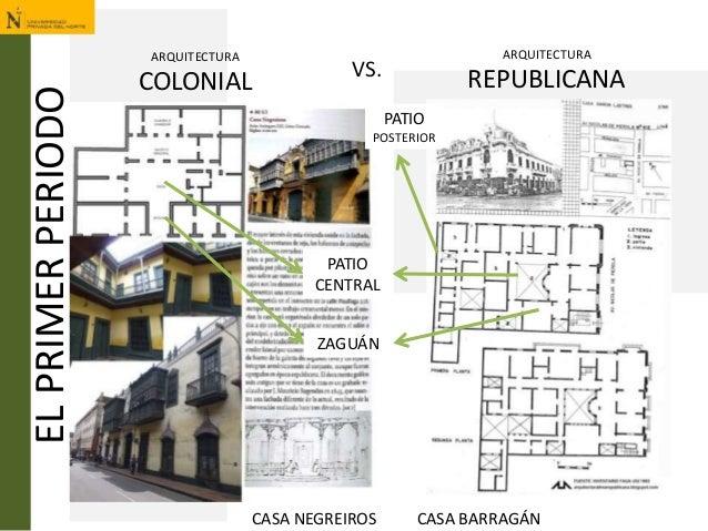 ELPRIMERPERIODO ARQUITECTURA COLONIAL VS. ARQUITECTURA REPUBLICANA ZAGUÁN PATIO CENTRAL PATIO POSTERIOR CASA NEGREIROS CAS...