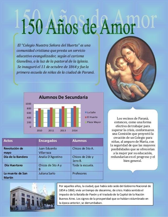 """El """"Colegio Nuestra Señora del Huerto"""" es una  comunidad cristiana que presta un servicio  educativo evangelizador, según ..."""