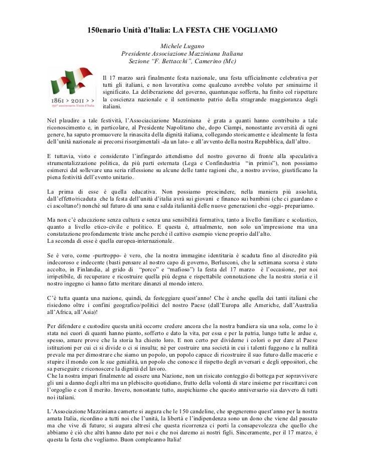 150enario Unità d'Italia: LA FESTA CHE VOGLIAMO                                             Michele Lugano                ...