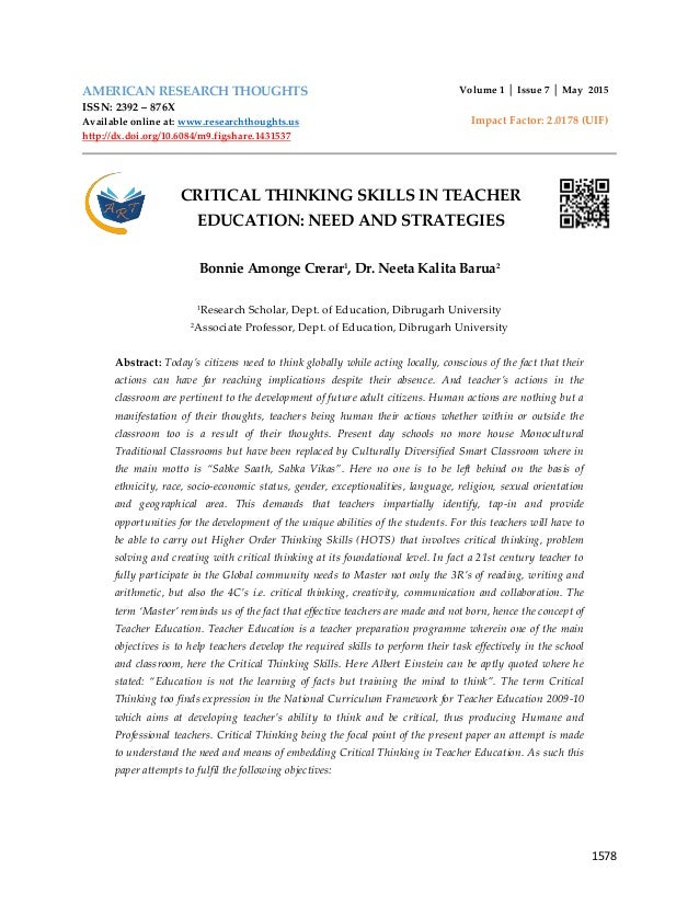 kurfiss strategies to encourage critical thinking
