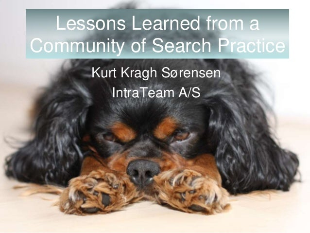 www.IntraTeam.com Lessons Learned from a Community of Search Practice Kurt Kragh Sørensen IntraTeam A/S