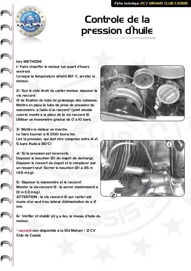 ME HARI - 2CV- - CASSIS CLUB Controle de la pression d'huile Fiche technique 2CV MEHARI CLUB CASSIS 1ère MÉTHODE 1/ Faire ...