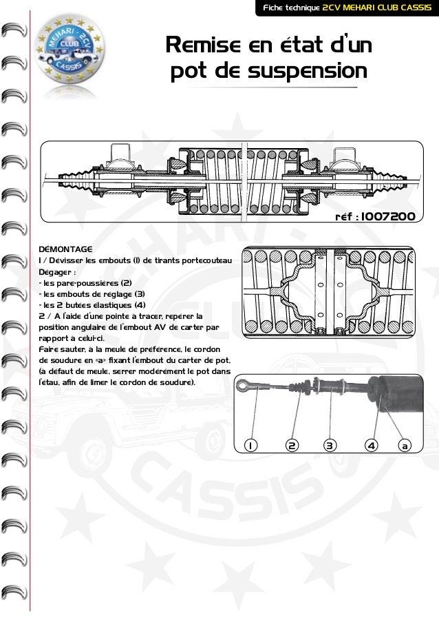 ME HARI - 2CV- - CASSIS CLUB Remise en état d'un pot de suspension Fiche technique 2CV MEHARI CLUB CASSIS DÉMONTAGE 1 / Dé...
