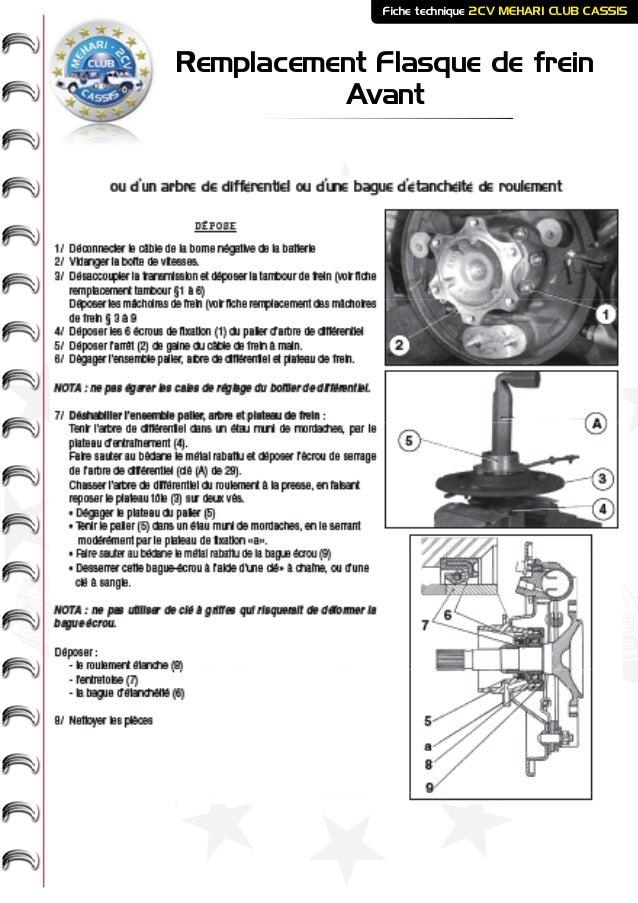ME HARI - 2CV- - CASSIS CLUB Remplacement Flasque de frein Avant Fiche technique 2CV MEHARI CLUB CASSIS