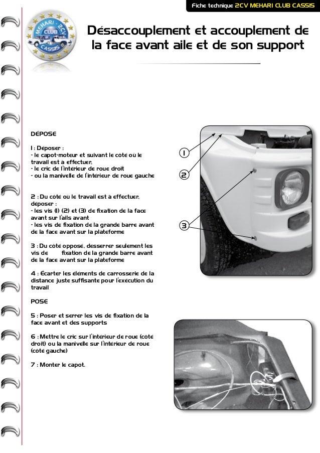 Désaccouplement et accouplement de la face avant aile et de son support Fiche technique 2CV MEHARI CLUB CASSIS DÉPOSE 1 : ...