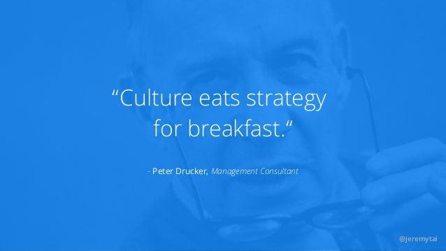 "@jeremytai Culture eats strategy for breakfast."" "" - Peter Drucker, Management Consultant @jeremytai"