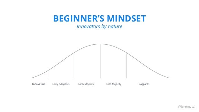 @jeremytai BEGINNER'S MINDSET Innovators by nature Innovators Early Adopters Early Majority Late Majority Laggards