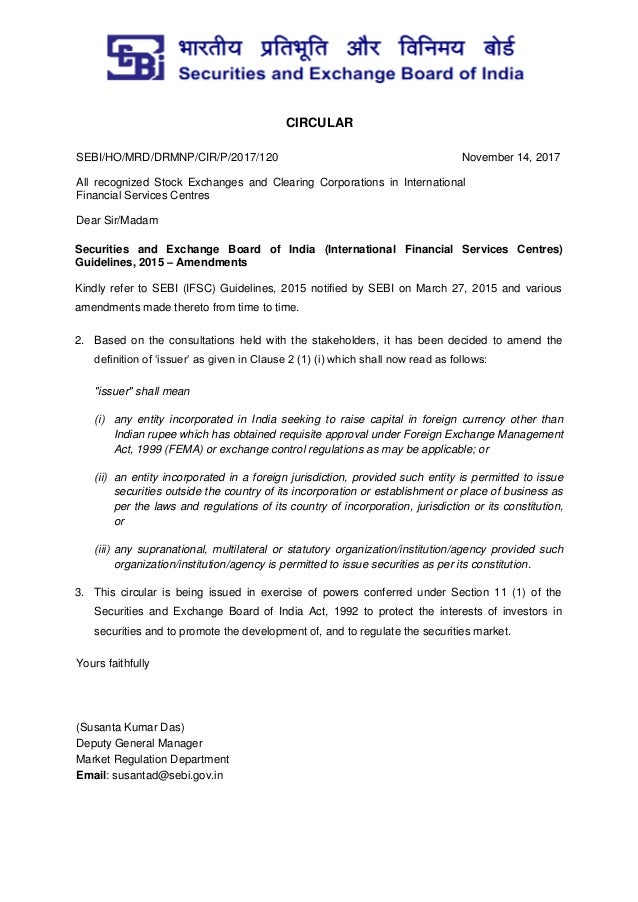 CIRCULAR SEBI/HO/MRD/DRMNP/CIR/P/2017/120 November 14, 2017 All recognized Stock Exchanges and Clearing Corporations in In...