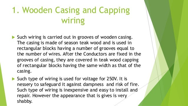 Conduct Wiring 4 1 Wooden Casing And Capping Such