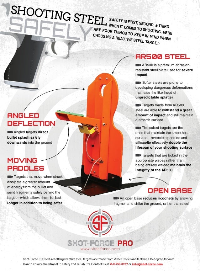 SAFELY AR500 STEEL MOVING PADDLES ANGLED DEFLECTION Shot-Force PRO self-resetting reactive steel targets are made from AR5...