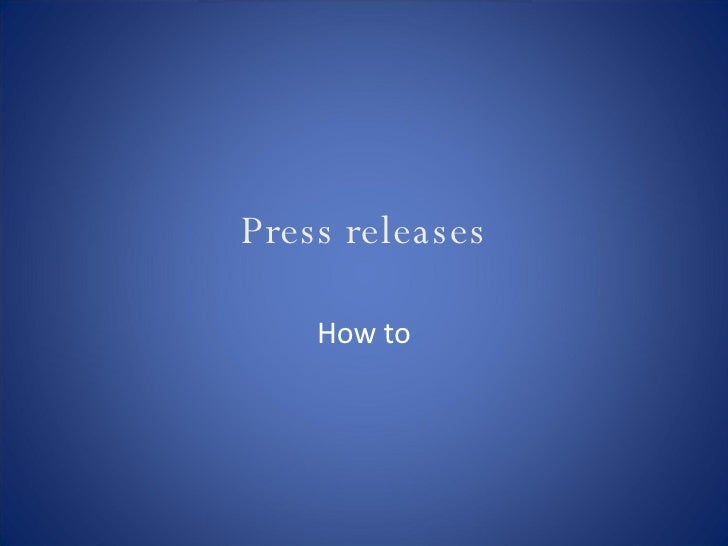 Press releases How to