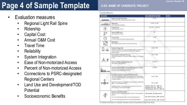 Sound Transit  Candidate Project Templates