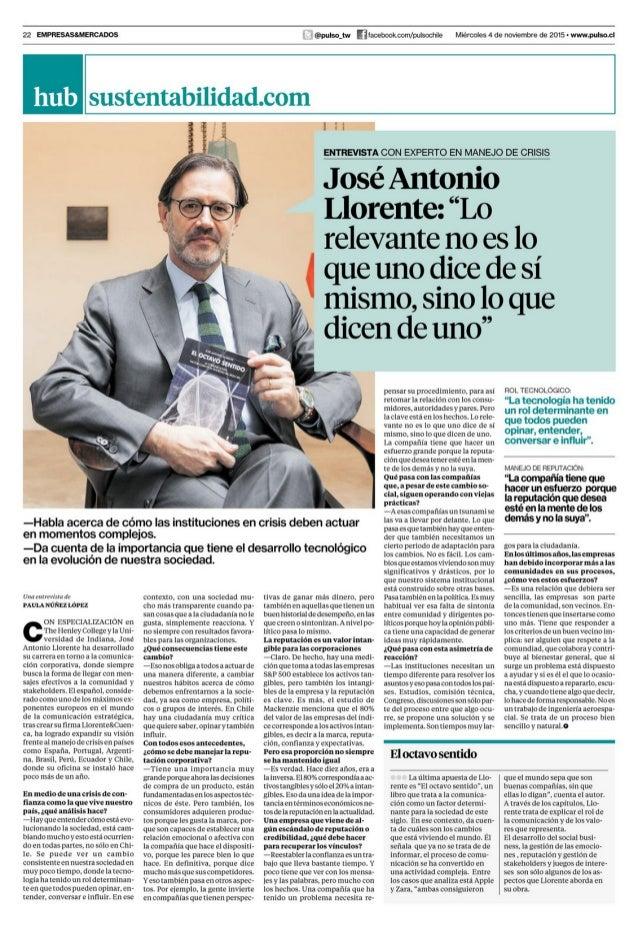 Entrevista a José Antonio Llorente en Pulso