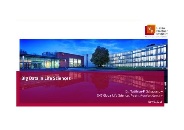 Big Data in Life Sciences Dr. Matthieu-P. Schapranow CMS Global Life Sciences Forum, Frankfurt, Germany Nov 9, 2015