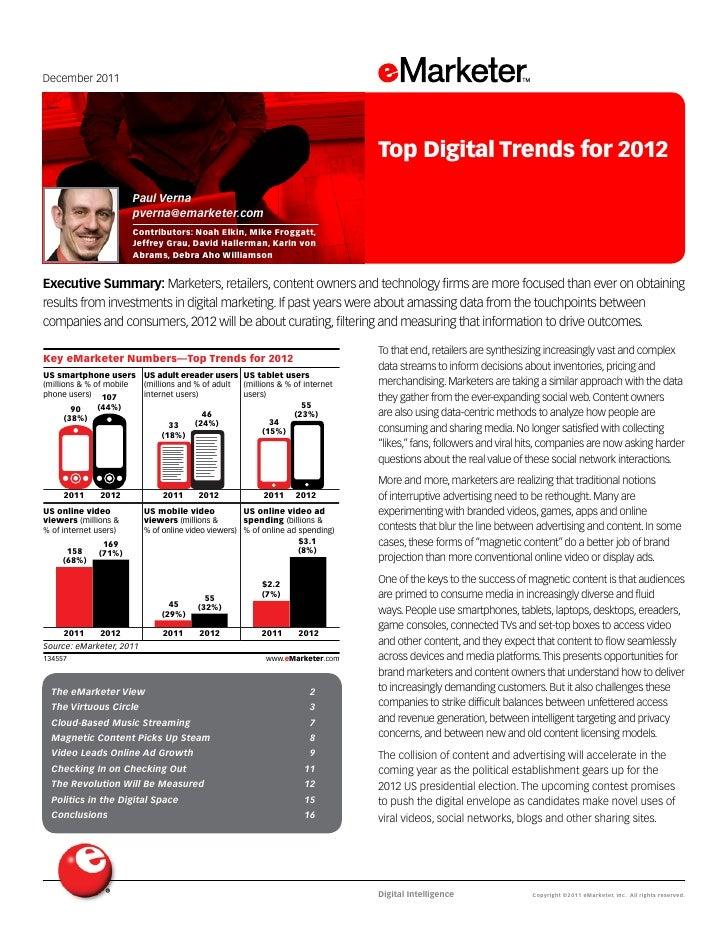 December 2011                                                                                 Top Digital Trends for 2012 ...