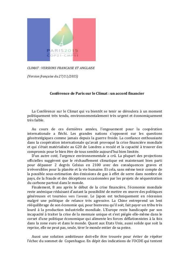 CLIMAT:VERSIONSFRANCAISEETANGLAISE  (Versionfrançaisedu27/11/2015)    ConférencedeParissurleClimat:un...