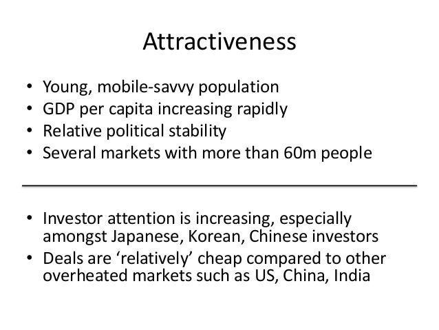 Attractiveness • Young, mobile-savvy population • GDP per capita increasing rapidly • Relative political stability • Sever...