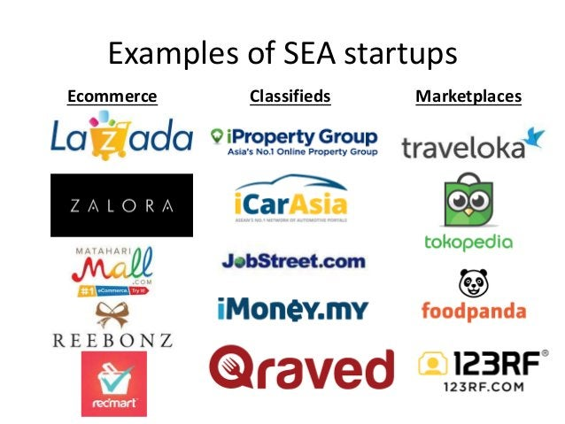 Examples of SEA startups Ecommerce Classifieds Marketplaces
