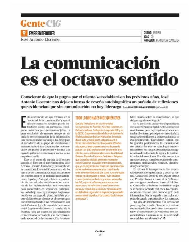01/01/16Cambio16 Comunidad de Madrid Prensa: Mensual Tirada: 65.000 Ejemplares Difusión: 52.000 Ejemplares Página: 96 Secc...