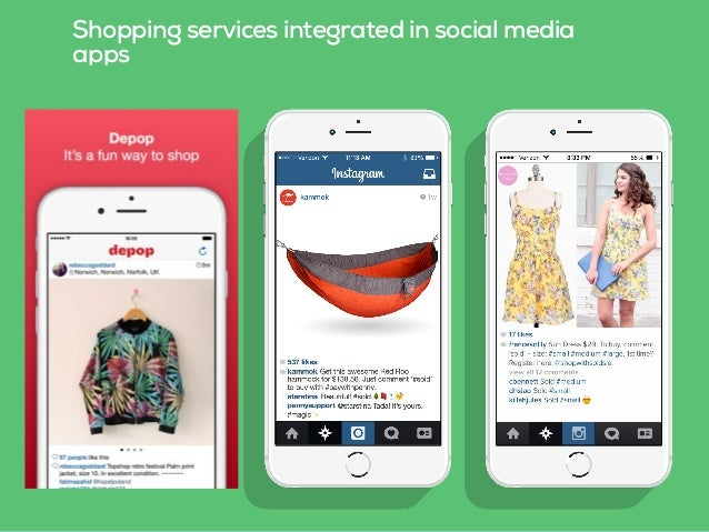 Shopping services integrated in social media apps