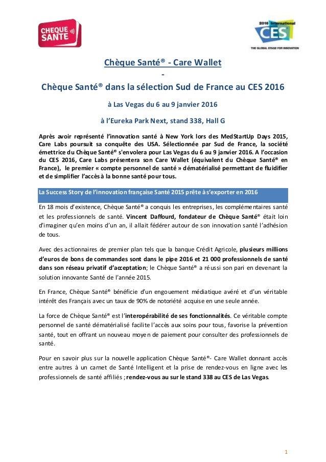 1 Chèque Santé® - Care Wallet - Chèque Santé® dans la sélection Sud de France au CES 2016 à Las Vegas du 6 au 9 janvier 20...