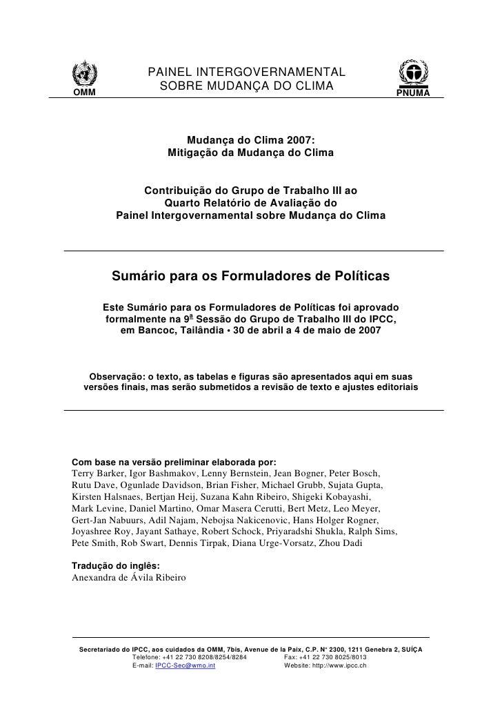 PAINEL INTERGOVERNAMENTAL                       SOBRE MUDANÇA DO CLIMA OMM                                                ...