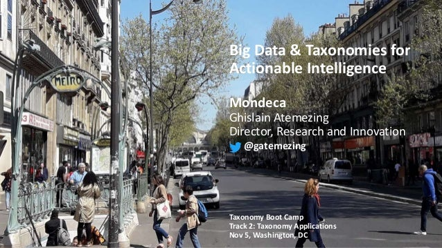Big Data & Taxonomies for Actionable Intelligence Mondeca Ghislain Atemezing Director, Research and Innovation @gatemezing...