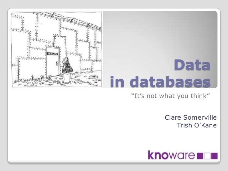 """Datain databases  """"It's not what you think""""            Clare Somerville                Trish O'Kane"""