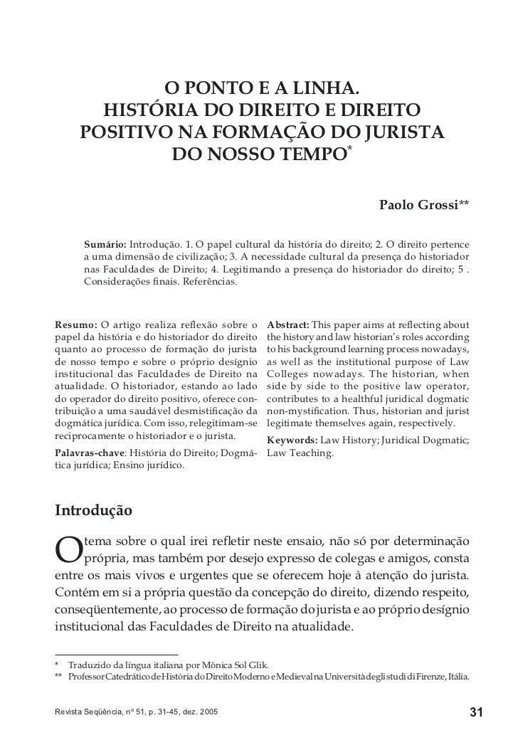 O PONTO E A LINHA.        HISTÓRIA DO DIREITO E DIREITO      POSITIVO NA FORMAÇÃO DO JURISTA              DO NOSSO TEMPO* ...