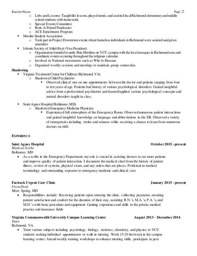 medical scribe resume