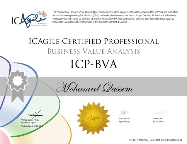 Ahmed Sidky, Ph.D. Founder, ICAgile The International Consortium for Agile (ICAgile) hereby certifies that, having success...