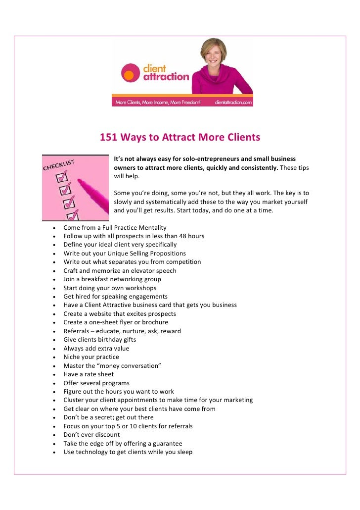 151 Ways to Attract More Clients                     It's not always easy for solo-entrepreneurs and small business       ...