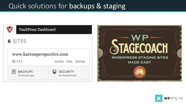Quick solutions for backups & staging