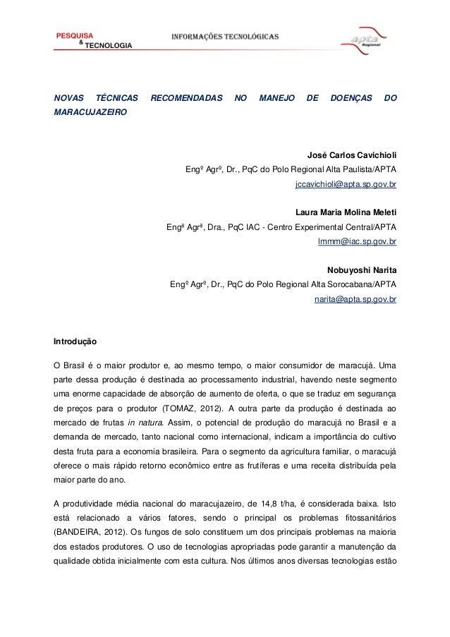 NOVAS TÉCNICAS RECOMENDADAS NO MANEJO DE DOENÇAS DO MARACUJAZEIRO José Carlos Cavichioli Engº Agrº, Dr., PqC do Polo Regio...
