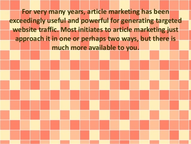 Effective Article Marketing Tactics Overlooked By Most People Slide 2