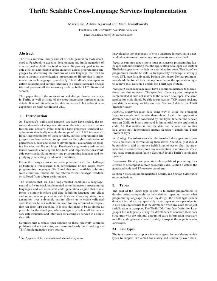 Thrift: Scalable Cross-Language Services Implementation                                              Mark Slee, Aditya Aga...