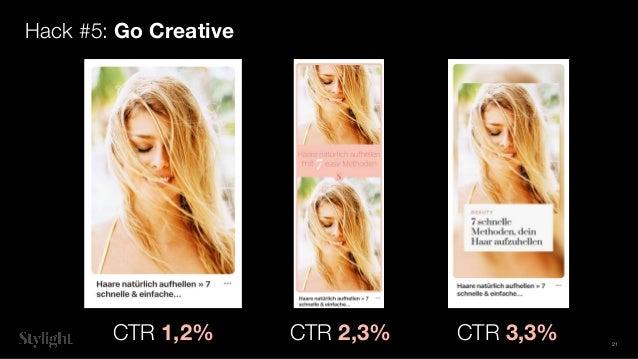 Hack #5: Go Creative CTR 1,2% CTR 2,3% CTR 3,3% 21