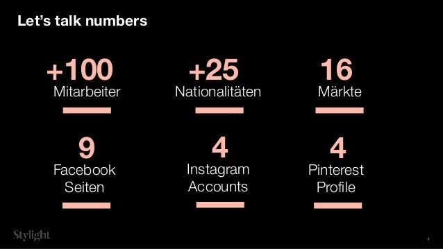 +100 Let's talk numbers Mitarbeiter +25 Nationalitäten 16 Märkte 9 Facebook Seiten 4 Instagram Accounts 4 Pinterest Profile