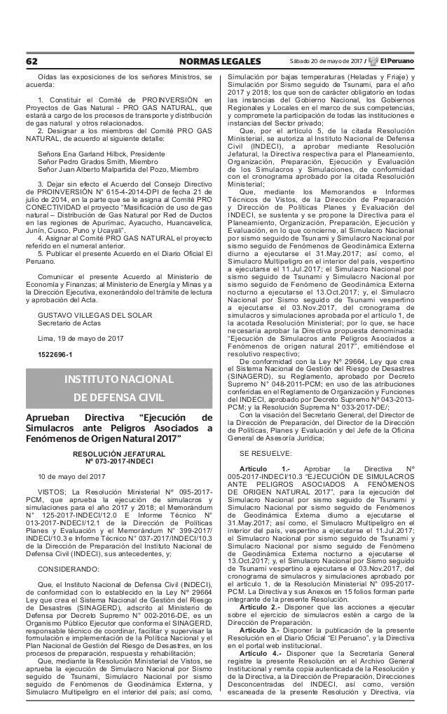 62 NORMAS LEGALES Sábado 20 de mayo de 2017 / El Peruano Oídas las exposiciones de los señores Ministros, se acuerda: 1. C...