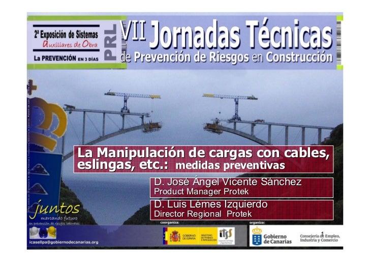 La Manipulación de cargas con cables,eslingas, etc.: medidas preventivas           D. José Ángel Vicente Sánchez          ...