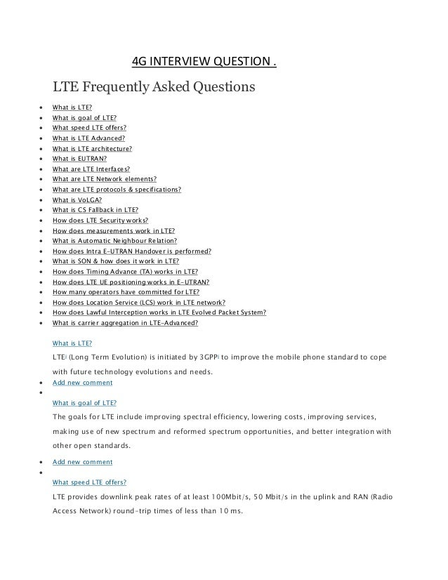 Interview Question | 152763323 Lte Interview Question