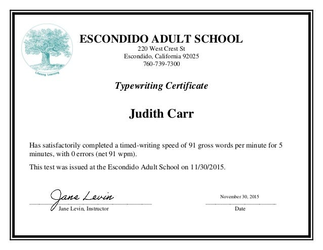 Adult School Typing Certificate J Carr