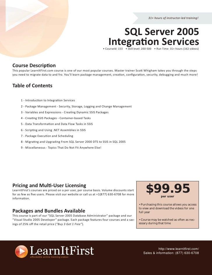 31+ hours of instructor-led training!                                                                              SQL Ser...