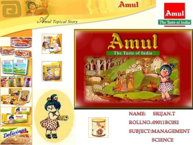    Amul (Anand Milk Union Limited), formed in 1946, is a    dairy cooperative movement in India.   It is managed by Guja...
