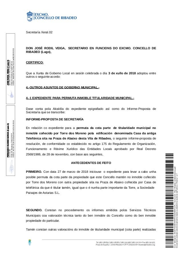 Secretaría Xeral.02 DON JOSÉ RODIL VEIGA, SECRETARIO EN FUNCIONS DO EXCMO. CONCELLO DE RIBADEO (Lugo), CERTIFICO: Que a Xu...