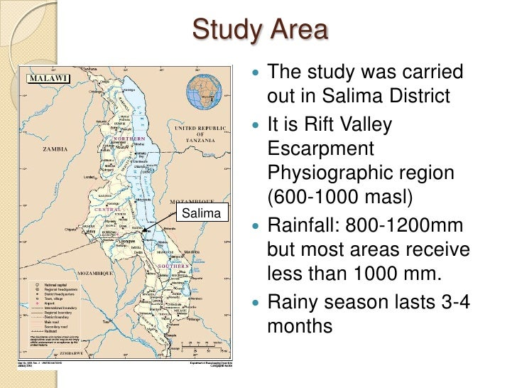 Study Area          The study was carried           out in Salima District          It is Rift Valley           Escarpme...