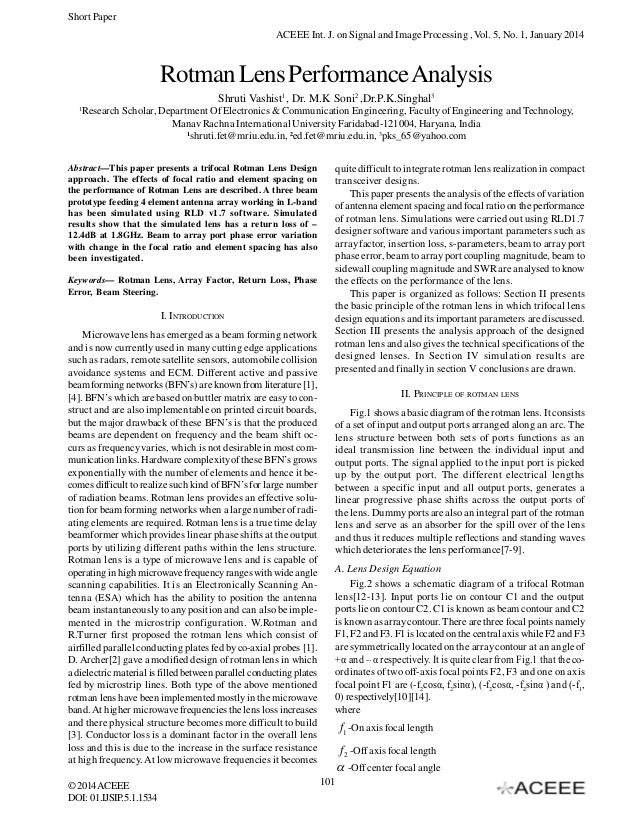 Short Paper ACEEE Int. J. on Signal and Image Processing , Vol. 5, No. 1, January 2014  Rotman Lens Performance Analysis S...